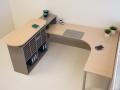 Theke mit Kleingefache, Thekenplatte auf Adaptern, Dekor Congo und Baleareneiche